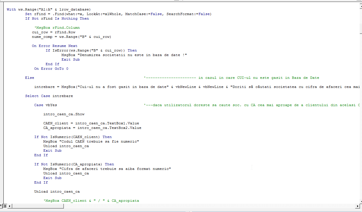 VBA Code sample1
