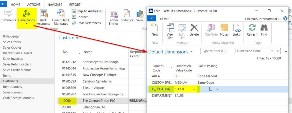 6. Default Dimensions NAV